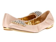 Light pink and gold flats that would make awesome wedding shoes.  I have got to look for these!.