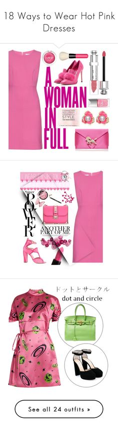 """18 Ways to Wear Hot Pink Dresses"" by polyvore-editorial ❤ liked on Polyvore featuring waystowear, hotpinkdresses, KAROLINA, Diane Von Furstenberg, Wilbur & Gussie, Jimmy Choo, Christian Dior, Clinique, MAC Cosmetics and chic"