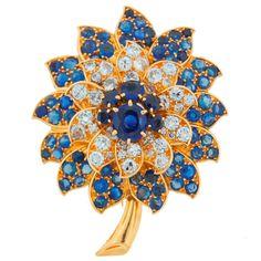 Rene Boivin Vintage Diamond, Sapphire & Yellow Gold Flower Brooch