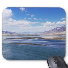 Brahmaputra river and mountain landscape - Tibet Mouse Pad  $13.00  by DavidJallaud  - cyo customize personalize unique diy idea