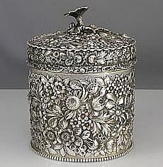 Early Stieff Sterling Tea Caddy, from Baltimore Sterling Silver Company, 1895