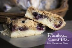 Mostly Homemade Mom: Blueberry Crumb Bars with cookie crust and 3 eggs in blueberry topping. Made 8/23/13 and they were really yummy!  Maybe I whipped too long because top crust rose and broke with light touching. J and GE especially loved it!