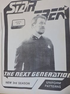 Star Trek The Next Generation Men's Uniform Jacket Third Season Pattern Adam Press J. Kerezman S - XL Halloween Costume Patterns, Fashion Patterns, Stage Play, Pattern Cutting, Jacket Pattern, The Next, Mens Fitness, Star Trek, Third