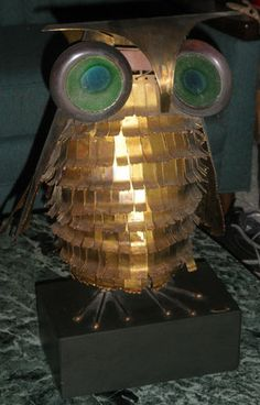 Curtis Jere large owl statue with huge eyes, c. mid 1960s.