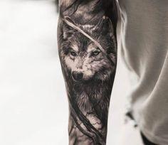 Wolf tattoo by Oscar Akermo