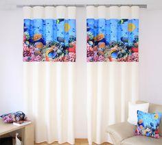 Krémový záves do spálne s modrým motívom morského dna - domtextilu. Dna, Curtains, Shower, Prints, Home Decor, Rain Shower Heads, Blinds, Decoration Home, Room Decor