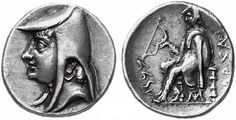 Coin of Arsaces I of Parthia. The reverse shows a seated archer carrying a bow. A Greek inscription on the right reads ΑΡΣΑΚ[ΟΥ] (from the outside). The incription below the bow is in Aramaic. (r. 250 BC to either 246 or 211 BC)