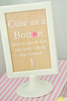 Cute as a Button 1st Birthday Party theme