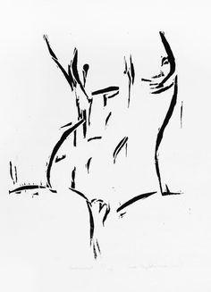 Original Nude Art  Nude Woman Woodcut   Nude Female by evartstudio