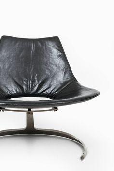 Scandinavian Modern Preben Fabricius & Jørgen Kastholm Scimitar Chair in Black Leather For Sale