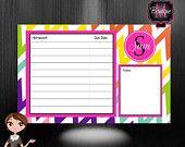 Monogrammed Desk Calendar - Personalized Desk Calendar -Homework Desk Pad, Homework Planner, Homework Board
