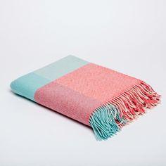 Sherbet Throw – Irish Design Shop Cashmere Throw, Irish Design, Pattern Making, Teal, Design Shop, Pink, How To Make, Color, Colour