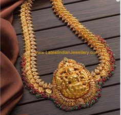 2 in 1 Gold Haram Design Gold Haram Designs, Gold Earrings Designs, Gold Jewellery Design, Gold Jewelry, Diamond Jewellery, Vaddanam Designs, Gold Necklace, India Jewelry, Gold Models