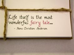 Set of 10 White Inspirational Note Cards : Hans Christian Anderson Fairy Tale Quote