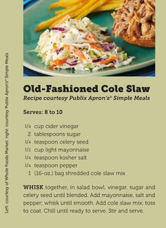 @Publix Apron's Simple Meals Cole Slaw Recipe for a BBQ.--This will be such a fun recipe to try at our grilling party-whisking the ingredients together, then someone could put in the cole slaw mix -a fun to do together recipe #Contest