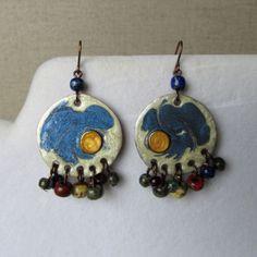 Crochet Earrings, Copper, Fantasy, Drop Earrings, Boho, Jewelry, Jewlery, Bijoux, Imagination