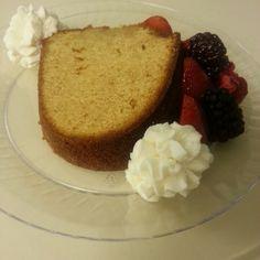 Honey Poundcake w/ fresh berries & homemade whipped cream... doin it right!