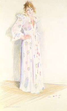 "CELIA, NOVEMBER 10TH   -   David Hockney   1972,  British  b.1937-   Crayon on paper, 19 x 14"""