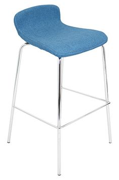 PRL291 Blue Fabric Stacker Posing 30In Barstool