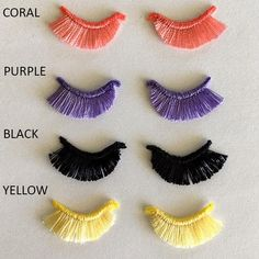 Eyelashes/Embroidered Pair/Blk,Purple,Coral,Yellow/ Amigurumi/Cardmaking/Scrapbooking/Lashes/Muslin dolls/Closed lashes/ Lilcuddles The Effective Pictures We Offer You Abou. Amigurumi Doll, Amigurumi Patterns, Doll Patterns, Crochet Patterns, Crochet Eyes, Crochet Dolls, Doll Eyes, Doll Face, Embroidery Applique