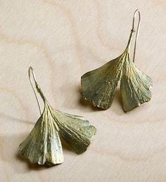 Ginkgo Leaf Earrings--The leaf of the storied Chinese ginkgo tree, a symbol of longevity, is rendered in hand-patinaed bronze to create an eternally fresh effect.
