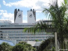 The smoke stacks of Holland America Line's Eurodam cruise ship, docked at Port Everglades in Ft. Lauderdale, Florida.