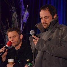 Mark Sheppard looks confused. Pellegrino's face makes it even more funny.