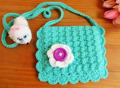 Crochet Purse, Little Girl Purse, Girls Bag, Gift for Girl, Doll Accessory, Kid's Easter Gift, Kids's Purse, Crochet Girl Purse, Blue Purse
