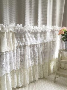 Shabby Cottage Chic Shower Curtain Grey Lace Ruffle Girls Bohemian Bathroom Gift for Her #shabbychicbathroomscurtains