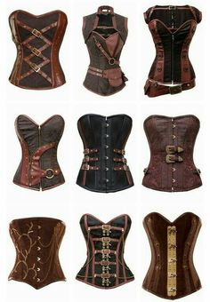 Steampunk corsets to place over your Victorian style dress.