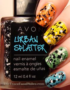 Avon Urban Splatter nail polish in Blackout Avon Nail Polish, Avon Nails, Nail Polishes, Get Nails, How To Do Nails, Hair And Nails, Splatter Nails, Funky Nails, Avon Representative