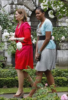 Sarah Brown and Michelle Obama who's outfit calls attention to every shortcoming she has, and then some....
