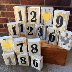 A personal favorite from my Etsy shop https://www.etsy.com/listing/230823656/wood-block-numbers-farmhouse-wood