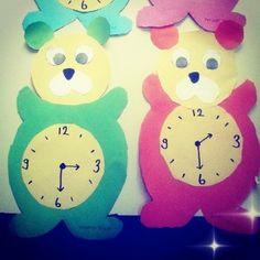 bear clock craft idea (5) Clock Craft, Kindergarten, Preschool Teachers, Worksheets, Free Printables, Coloring Pages, Crafts For Kids, Activities, Bear