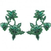 """7 1/4"""" by 5 5/8"""" Green Beaded/Sequin Applique"""