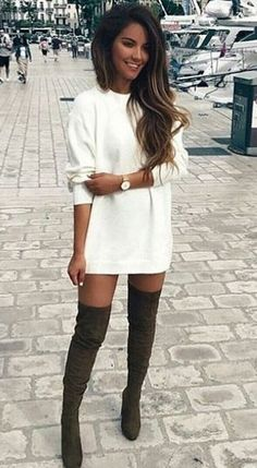 fall cute outfit. sweatshirt dress. over the knee boots.