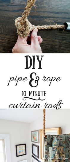 Here's How To Make Your Own DIY Curtain Rod In Quick, easy AND inexpensive DIY curtain rod solution! Make these industrial/nautical rods in MINUTES! Diy Curtain Rods, Diy Curtains, Curtain Ideas, Curtain Room Divider Diy, Pergola Curtains, Diy Pipe, Décor Boho, Window Coverings, Window Treatments