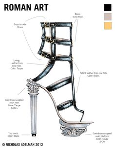 Roman Gladiator Heel Ink and Marker on Bristol This design was inspired by iconic Roman architecture in combination with a stylized gladiato...