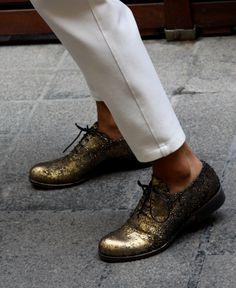 gold oxford ayakkabı