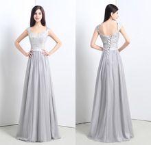 2015 New conçu Sexy col v robes de soirée avec dentelle paillettes Cap manches sans manches longueur de plancher en mousseline de soie robes de soirée ZY215(China (Mainland))