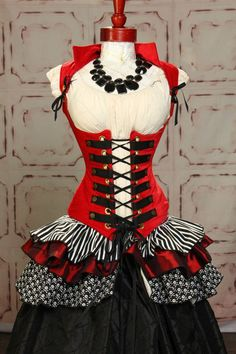 Tieranny Skirt in Classic Pirate and Circus Red Steampunk Vixen Corset by Damsel in this Dress