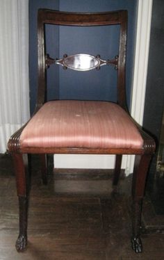 Maker: Duncan Phyfe, American, 1768–1854 Side Chairs, set of eight 1810-1820 Mahogany 32 3/4 x 18 1/4 x 17 1/2 in. Mabel Brady Garvan Collection 1930.2693a-h Geography:  Made in New York, North America Culture:  American - See more at: http://artgallery.yale.edu/collections/objects/side-chairs-set-eight#sthash.ZoYKa4OY.dpuf