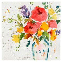 Lovely print, flowers in watercolors