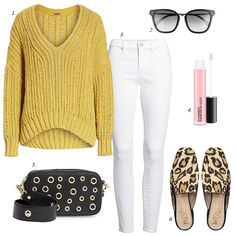 how to style white jeans with leopard, building a stylish wardrobe, women fashion, casual summer outfit, leopard slides, white jeans, free people sweater, summer trends 2018