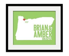 Oregon Wedding Gift - Personalized State and City Heart - Anniversary - Custom Wedding Date - Modern Art Print - 8x10 Portland Salem Eugene