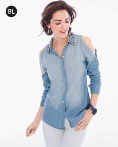 """The jewel of your chambray shirt collection. This embellished iteration epitomizes everyday glam with a diamanté-encrusted collar and gorgeous shoulder-peeking design.  Individual style. Clean, modern lines. The Exclusive Black Label by Chico's™ collection.   Regular length: 26.5"""".  Petite length: 25"""".  Cotton.  Machine wash. Imported."""