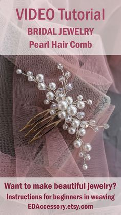 Bridal Headpieces & Earrings, Jewelry for Wedding by EDAccessory Handmade Jewelry Tutorials, Handmade Beaded Jewelry, Beaded Jewelry Patterns, Jewelry Making Tutorials, Flower Hair Accessories, Wedding Hair Accessories, Straight Weave, Wire Jewelry Making, Beads And Wire