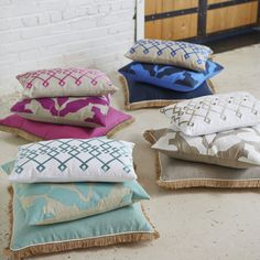 2015 Lacefield Pillow Collection #southernmade #embroidery #applique #interiors www.lacefielddesigns.com