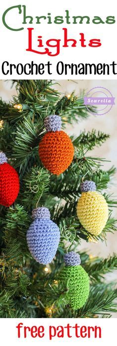 Christmas Lights Crochet Ornament 25 Days Of Christmas Traditions Crochet-A-Long Free Pattern From Sewrella Crochet Christmas Decorations, Crochet Ornaments, Christmas Crochet Patterns, Holiday Crochet, Crochet Gifts, Diy Crochet, Snowflake Ornaments, Holiday Ornaments, Dough Ornaments