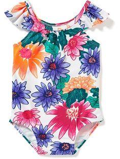b23e0c97b Adorable floral one piece bathing suit for baby girl Baby Girl Swimwear,  Baby Girl Swimsuit